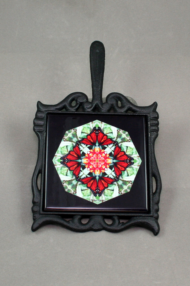 Butterfly Cast Iron Ceramic Tile Trivet Sacred Geometry Mandala Kaleidoscope Beloved Psyche