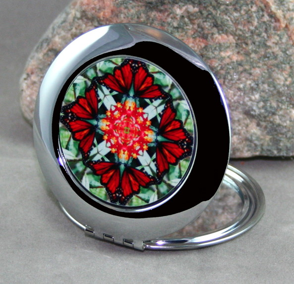 Monarch Butterfly Compact Mirror Sacred Geometry Mandala Kaleidoscope Beloved Psyche