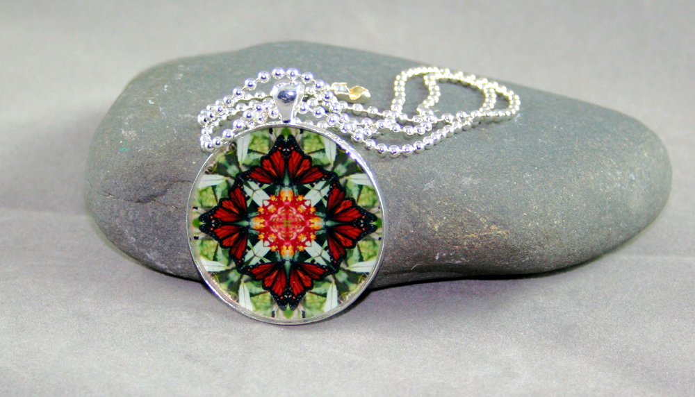 Monarch Butterfly Pendant Necklace geometric kaleidoscope mandala Beloved Psyche