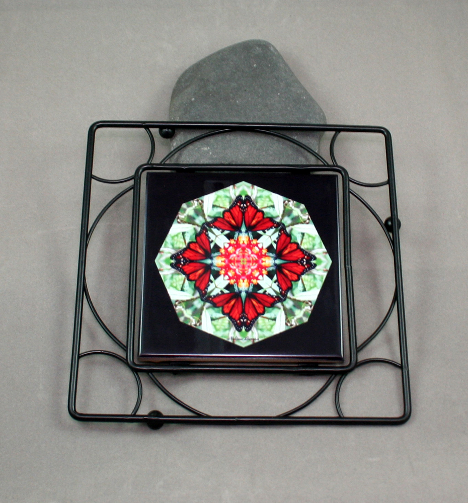 Butterfly Black Iron Ceramic Tile Trivet Sacred Geometry Mandala Kaleidoscope Beloved Psyche