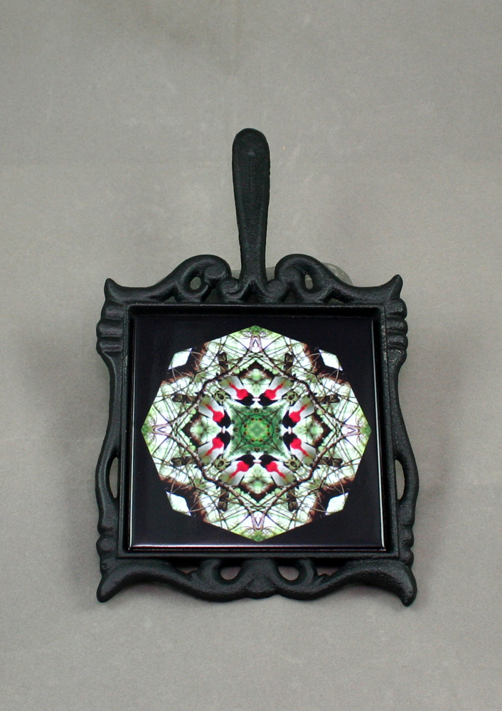 Grosbeak Cast Iron Ceramic Tile Trivet Sacred Geometry Mandala Kaleidoscope Bleeding Heart