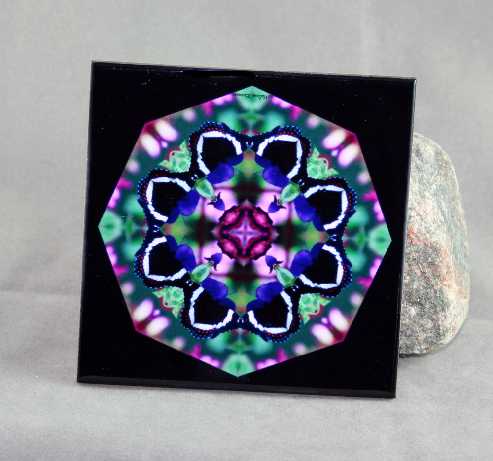 Butterfly Decorative Ceramic Tile Coaster Sacred Geometry Kaleidoscope Butterfly Bliss