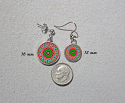 Earrings Dainty Tiny Double Sided Dangle Christmas Holiday Mandala Candyland