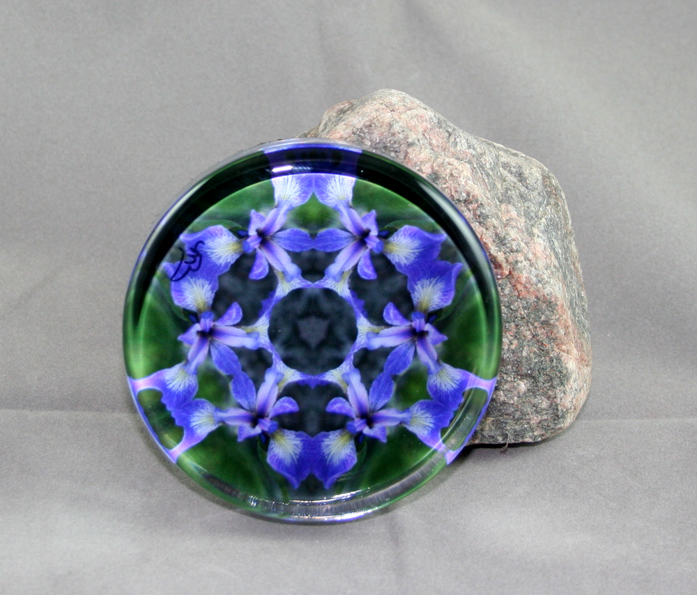 Iris Glass Paperweight Geometric Kaleidoscope Mandala Circle of Purple