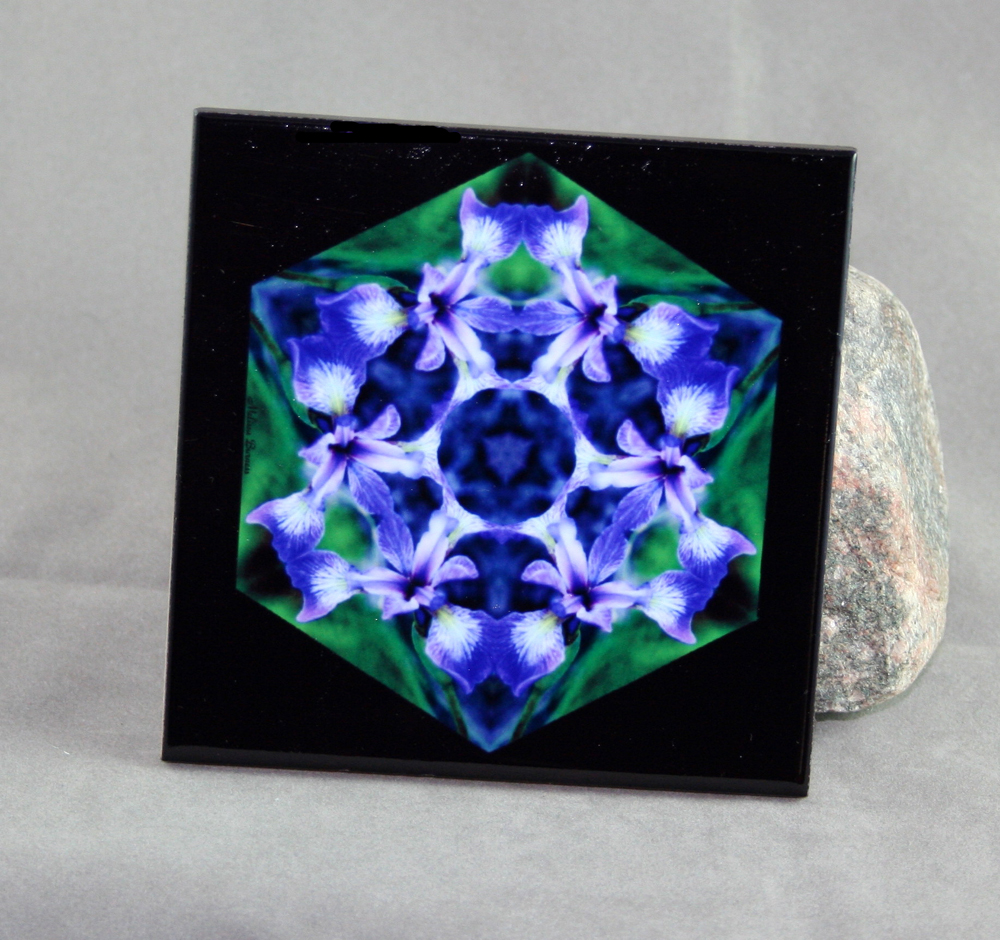 Iris Decorative Ceramic Tile Coaster Geometric Kaleidoscope Circle of Purple