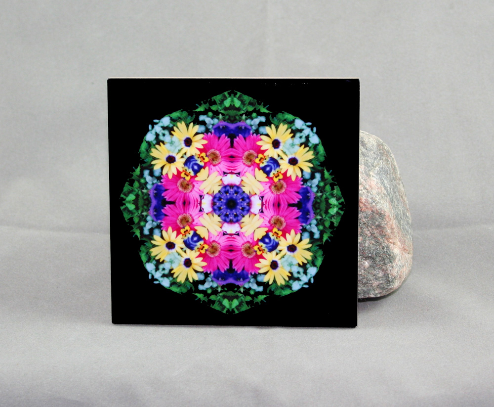 Daisy Decorative Ceramic Tile Coaster Trivet Kaleidoscope Daisy Delight