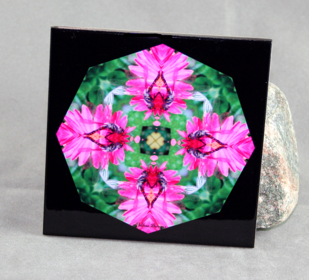 Dragonfly Decorative Ceramic Tile Coaster Trivet Geometric Kaleidoscope Dance of the Dragons