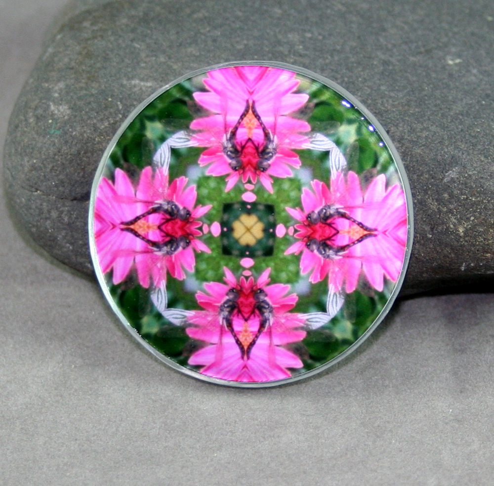 Dragonfly Glass Magnet Sacred Geometry Mandala Kaleidoscope Dance of the Dragons