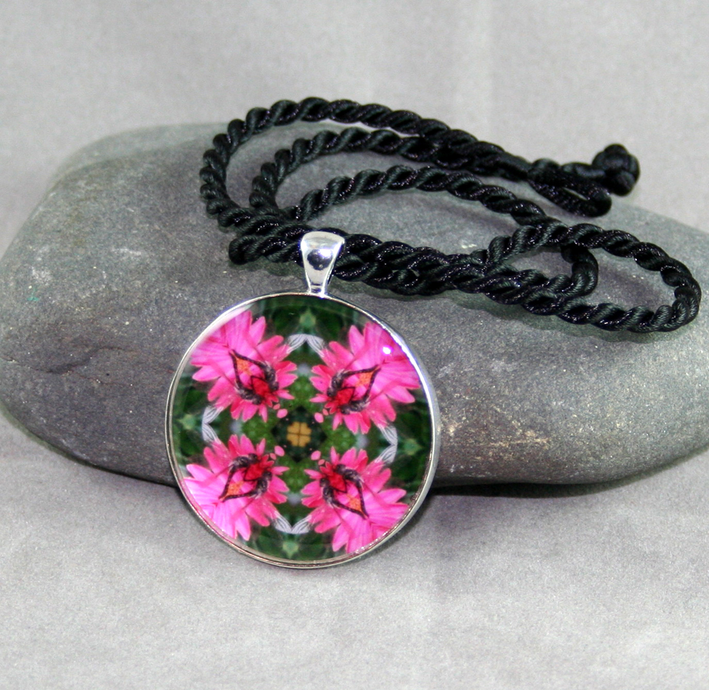 Dragonfly and Daisy Pendant Sacred Geometry Mandala Kaleidoscope Necklace Dance of the Dragons