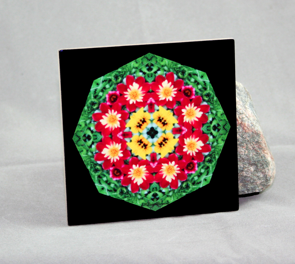 Dahlia Decorative Ceramic Tile Coaster Geometric Kaleidoscope Dignified Elegance