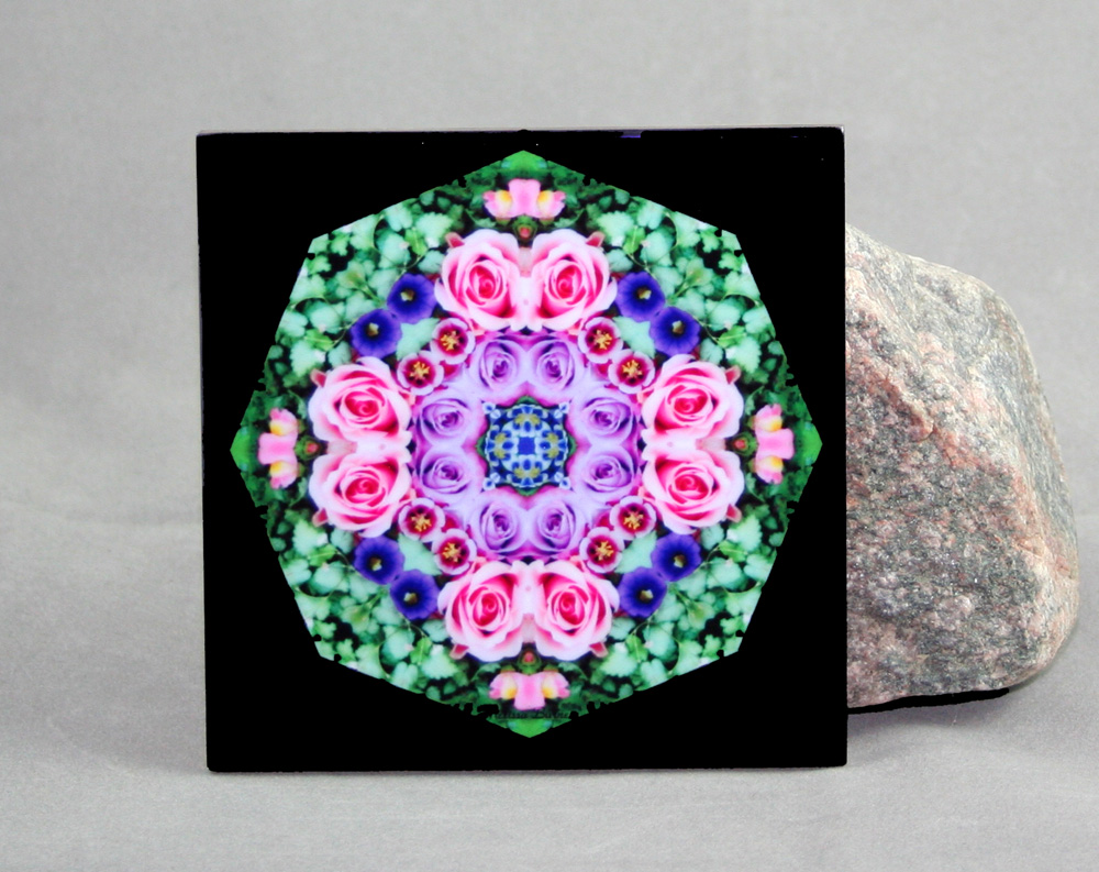 Rose Decorative Ceramic Tile Coaster Trivet Kaleidoscope Geometric Elegant Enchantment