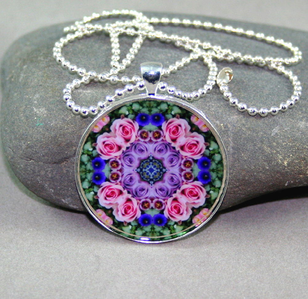 Rose Geometric Necklace Mandala Elegant Enchantment