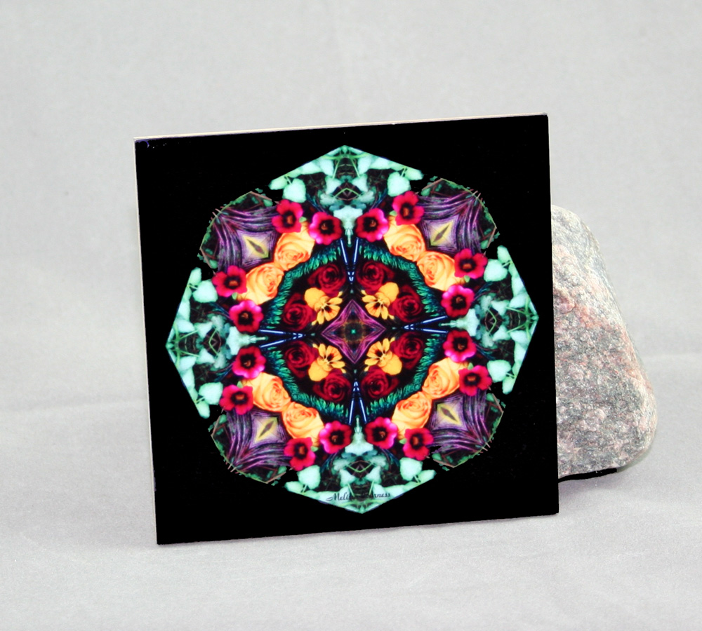 Rose Pansy Decorative Ceramic Tile Coaster Kaleidoscope Trivet Everlasting Love