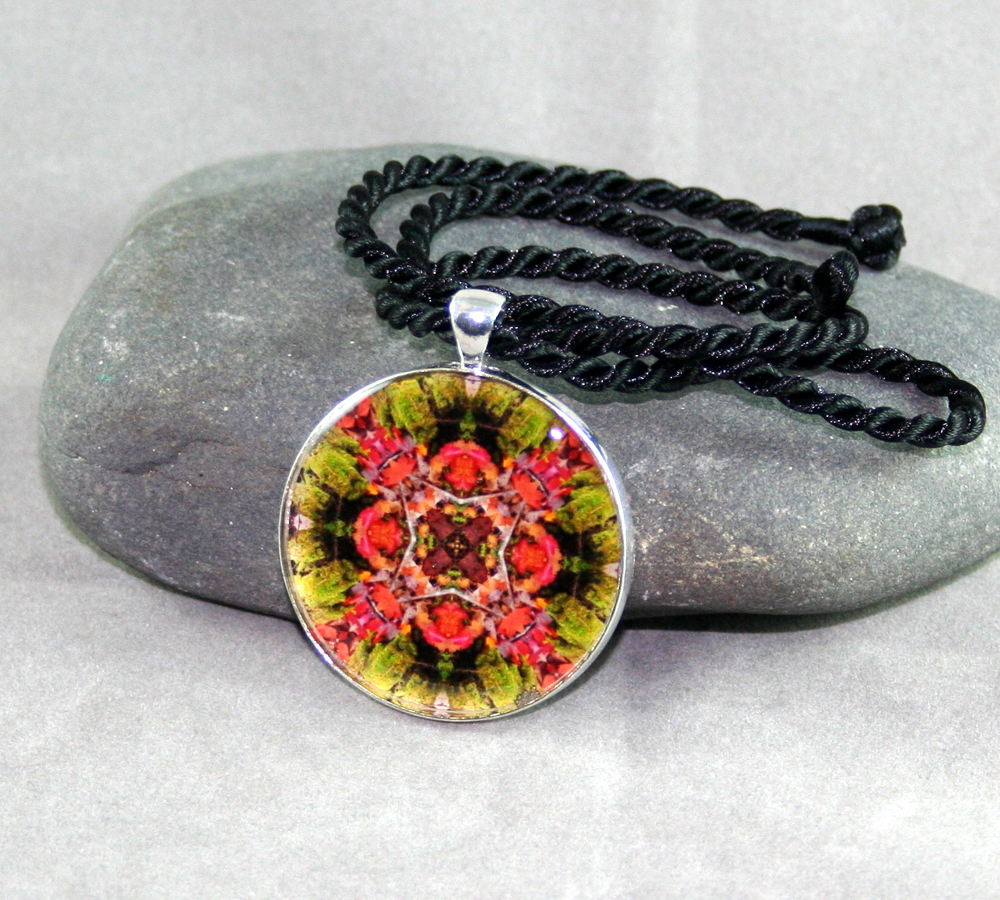 Autumn Leaves Pendant Sacred Geometry Mandala Kaleidoscope Necklace Fall Dream Catcher