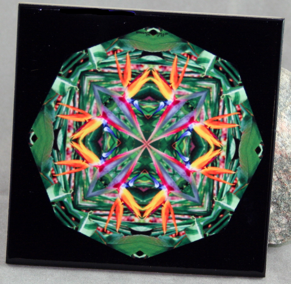 Bird Of Paradise Decorative Ceramic Tile Coaster Trivet Kaleidoscope Geometric Feathered Fauna