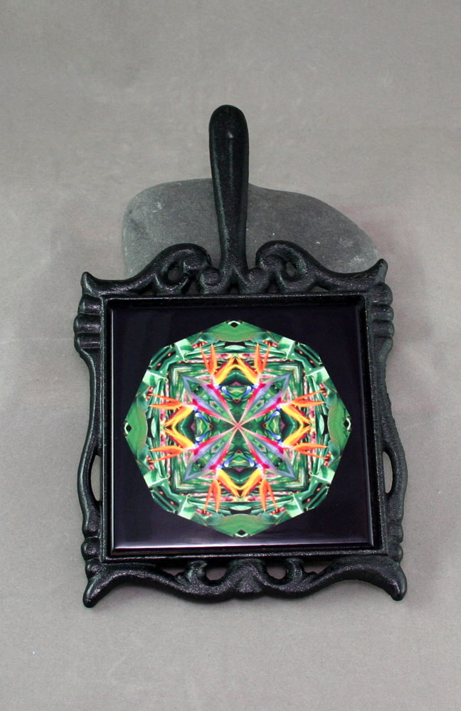 Bird of Paradise Cast Iron Ceramic Tile Trivet Sacred Geometry Mandala Kaleidoscope Feathered Fauna