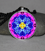 Forget Me Not Pendant Necklace Mandala Chakra Zen Sacred Geometry Kaleidoscopic Forget Me Not