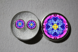 Post Earrings Forget Me Not Mandala Chakra Boho Sacred Geometry Zen Kaleidoscopic Forget Me Not