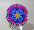Glass Paperweight Forget-Me-Not Mandala Zen Sacred Geometry Kaleidoscopic Forget-Me-Not