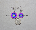 Earrings Dainty Tiny Double Sided Dangle Forget Me Not Mandala Forget Me Not