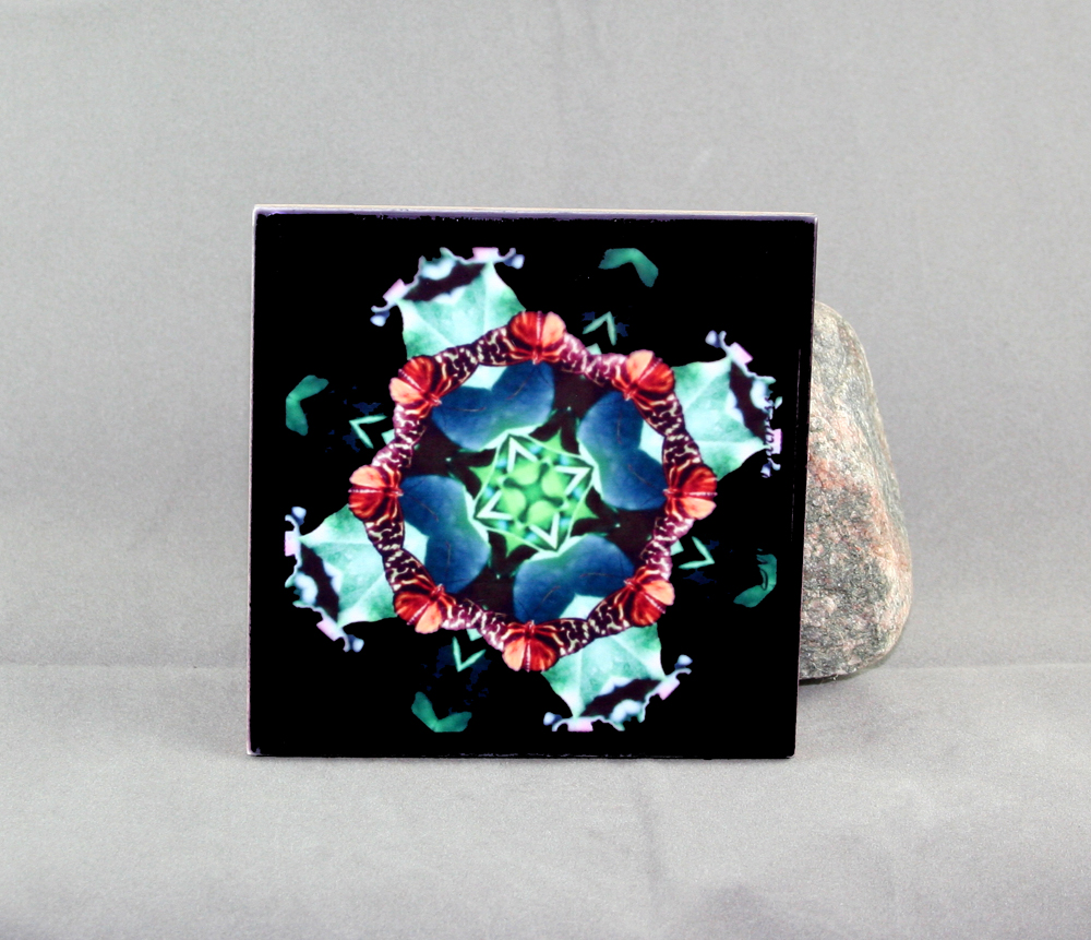 Butterfly Decorative Ceramic Tile Coaster Sacred Geometry Kaleidoscope Ginger Gem