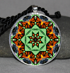 Monarch Butterfly Pendant Necklace Mandala Zen Sacred Geometry Kaleidoscopic Guardian Angel