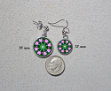 Earrings Dainty Tiny Double Sided Dangle Heart Chakra Mandala Heart Chakra 2