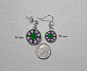 Earrings Dainty Tiny Double Sided Dangle Heart Chakra Mandala Heart Chakra 1