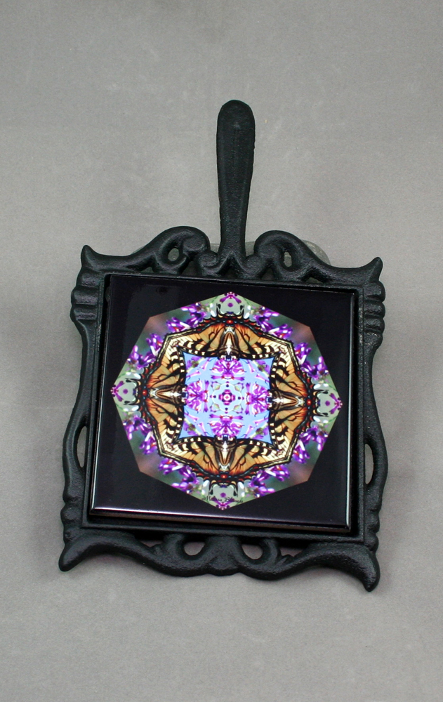 Butterfly Cast Iron Ceramic Tile Trivet Sacred Geometry Mandala Kaleidoscope Hsien