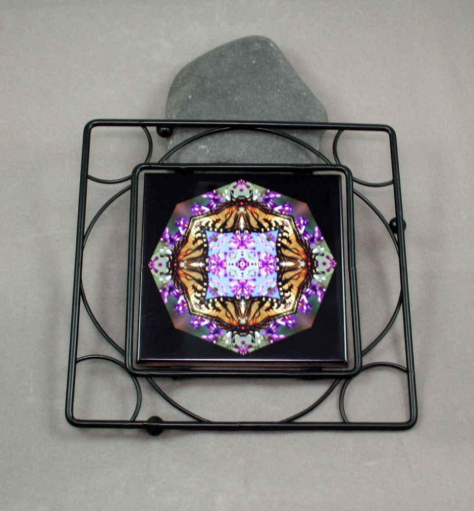 Butterfly Black Iron Ceramic Tile Trivet Sacred Geometry Mandala Kaleidoscope Hsien