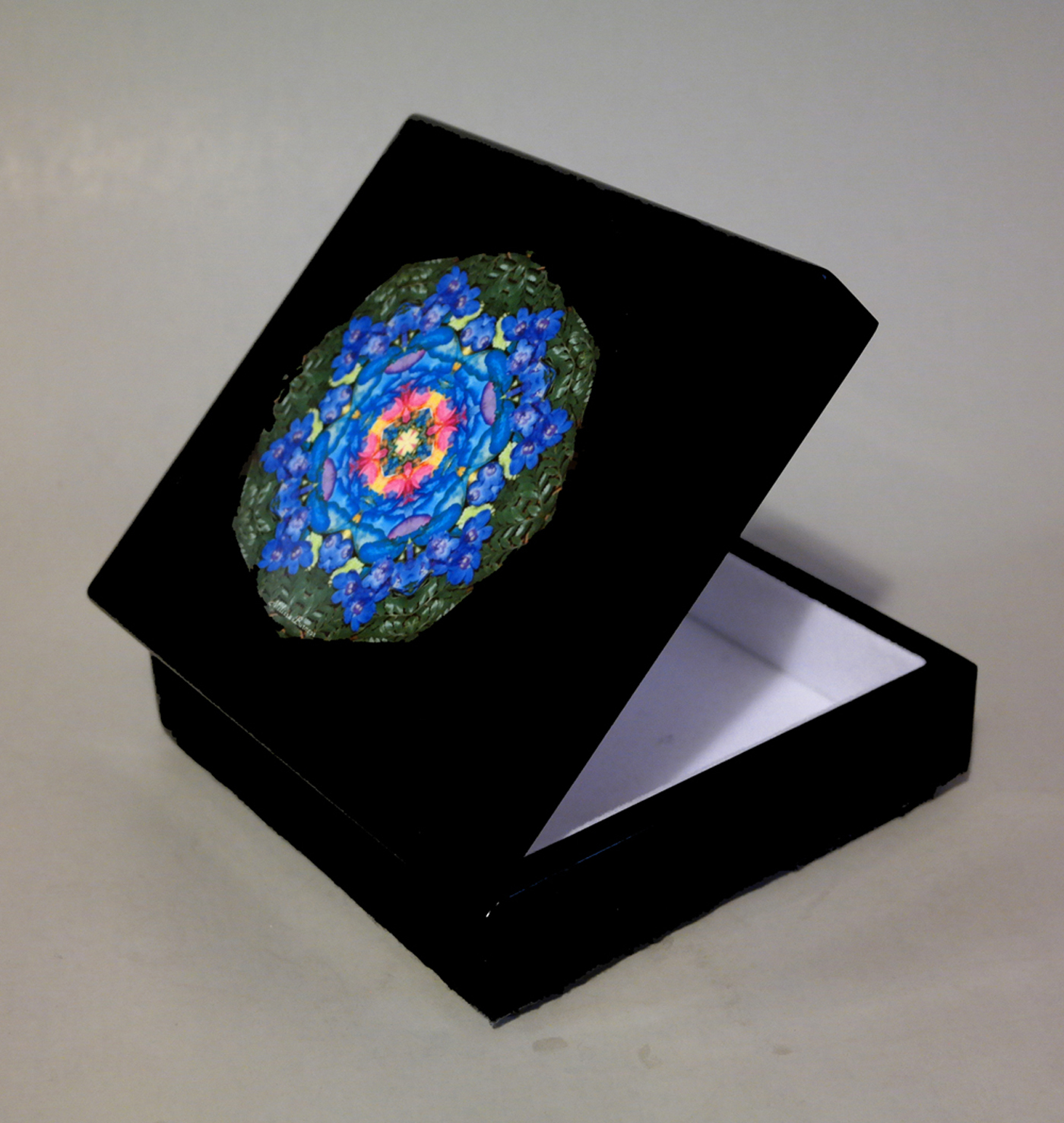 Rainbow Rose Music Box Keepsake Box Trinket Box Jewelry Box Boho Chic Mandala New Age Sacred Geometry Hippie Kaleidoscope Unique Gift For Her Kaleidoscopic Symphony