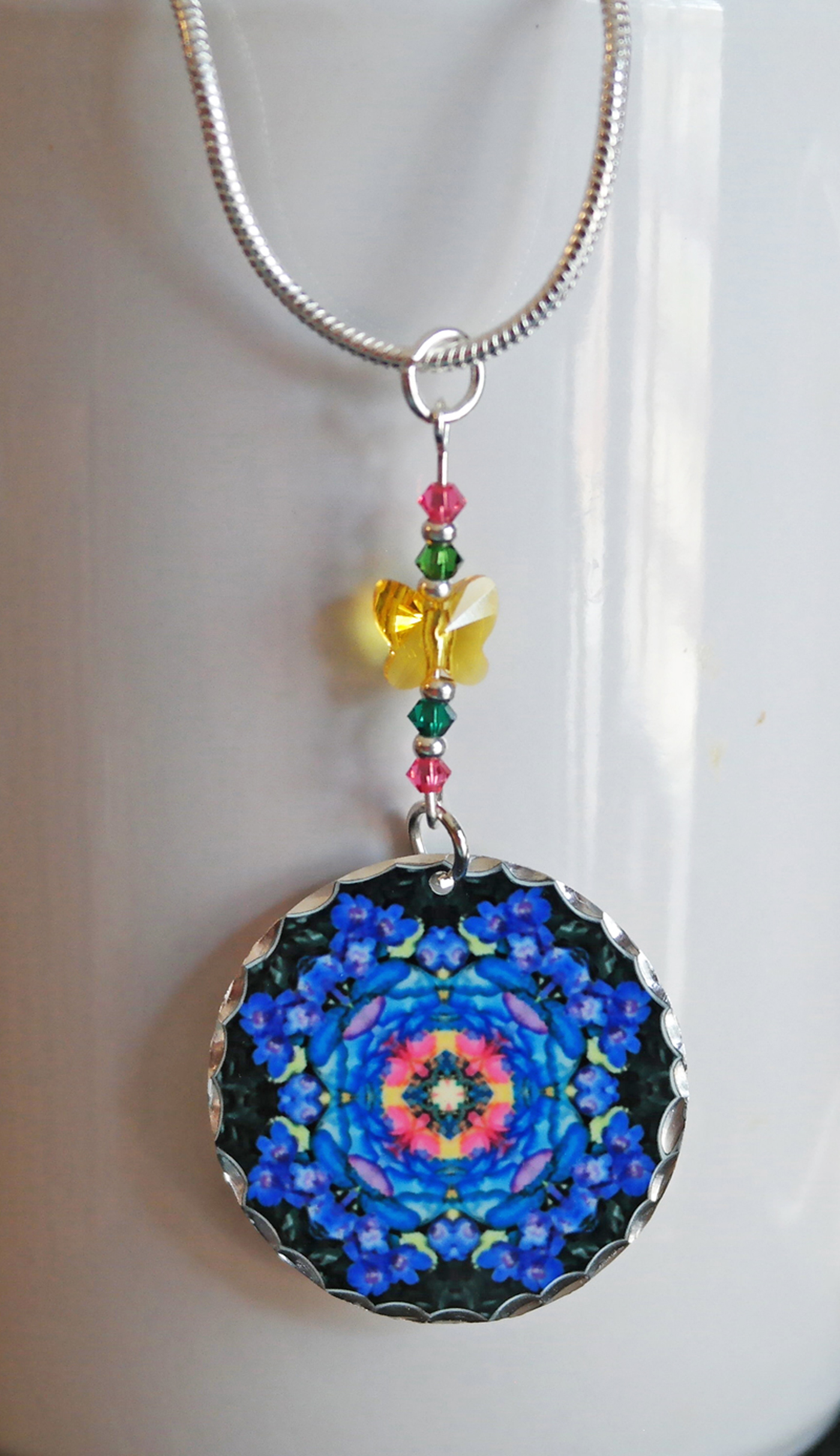 Rose Mandala Pendant Charm Boho Chic New Age Sacred Geometry Hippie Unique Gift For Her Kaleidoscope Kaleidoscopic Symphony
