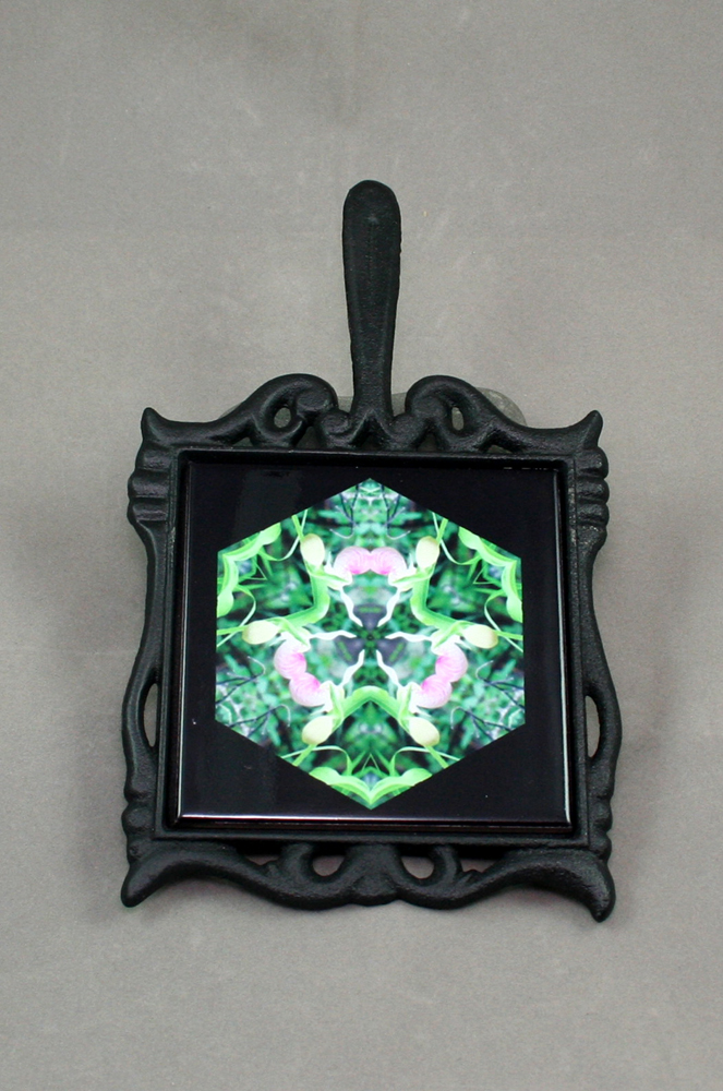 Lady Slipper Cast Iron Ceramic Tile Trivet Sacred Geometry Mandala Kaleidoscope Lady in Waiting