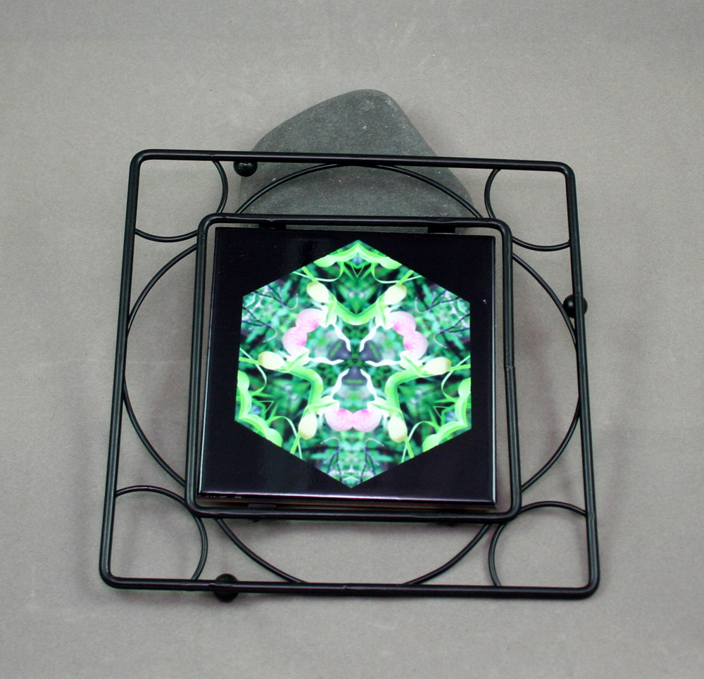 Lady Slipper Black Iron Ceramic Tile Trivet Sacred Geometry Mandala Kaleidoscope Lady in Waiting
