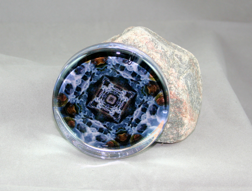Waterfall Glass Paperweight Geometric Kaleidoscope Mandala Mystic Waters