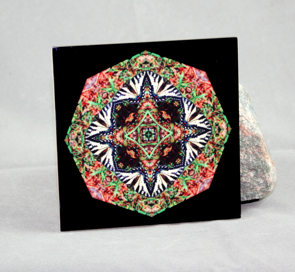 Tiger Swallowtail Butterfly Decorative Ceramic Tile Coaster Sacred Geometry Kaleidoscope Mello Yellow