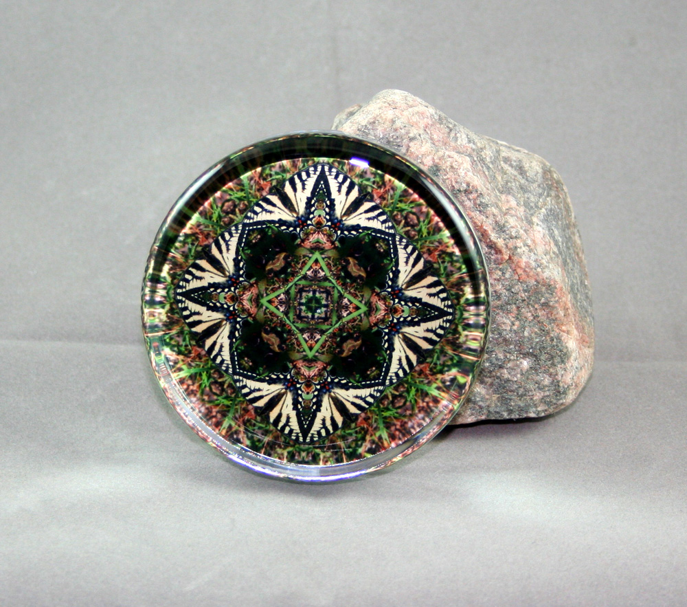 Tiger Swallowtail Butterfly Glass Paperweight Sacred Geometry Mandala Kaleidoscope Mello Yellow
