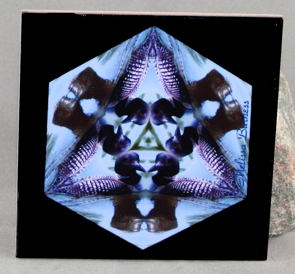 Loon Decorative Ceramic Tile Coaster Trivet Geometric Kaleidoscope Minnesota Majesty