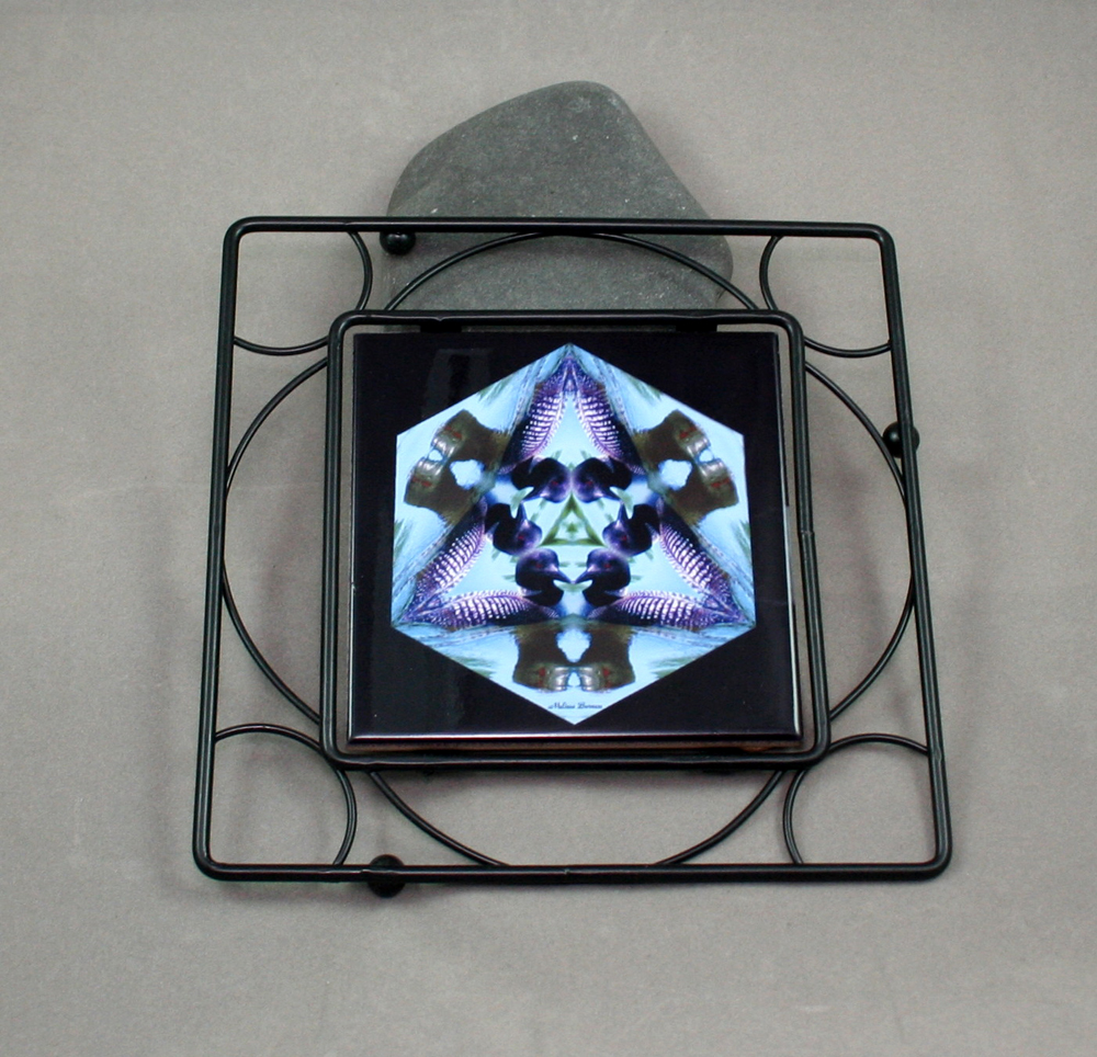 Loon Cast Black Ceramic Tile Trivet Sacred Geometry Mandala Kaleidoscope Minnesota Majesty