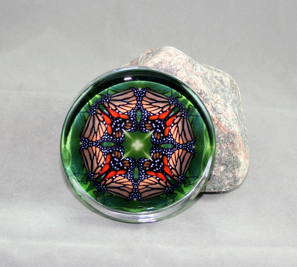 Monarch Butterfly Glass Paperweight Geometric kaleidoscope mandala Monarch Melody