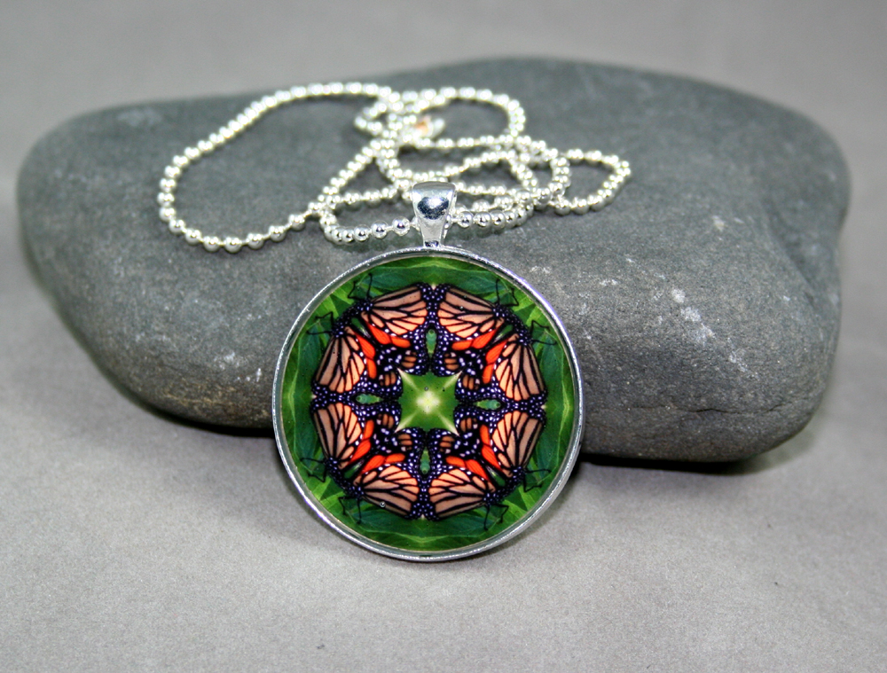 Monarch Butterfly Pendant Necklace geometric mandala kaleidoscope Monarch Melody