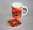 Mug Coffee Tea Hot Chocolate Unique Cute Monarch Butterfly With Coaster Gift Set Charismatic Essence
