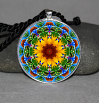 Sunflower Pendant Necklace Mandala Chakra Zen Sacred Geometry Kaleidoscopic My Beauty Within