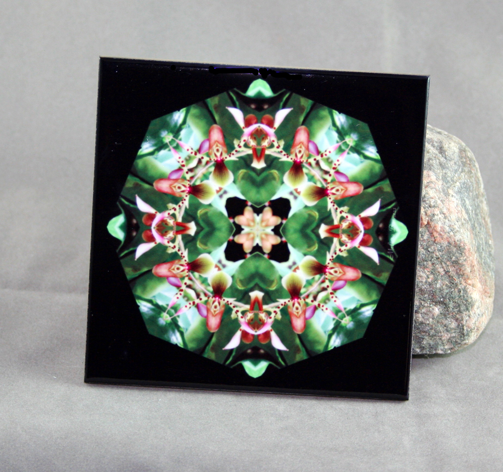 Orchid Decorative Ceramic Tile Coaster Trivet Geometric Kaleidoscope My Hearts Desire