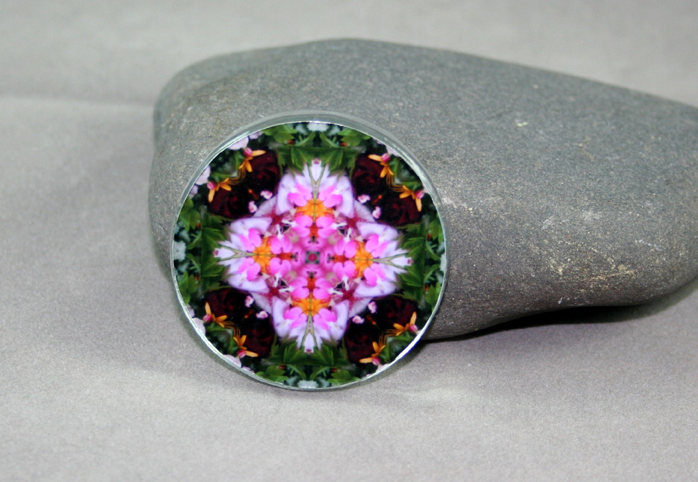 Bleeding Heart and Red Rose Glass Magnet Sacred Geometry Mandala Kaleidoscope My Love
