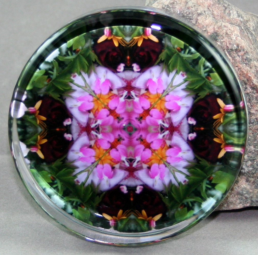 Bleeding Heart & Red Rose Glass Paperweight Mandala Kaleidoscope My Love