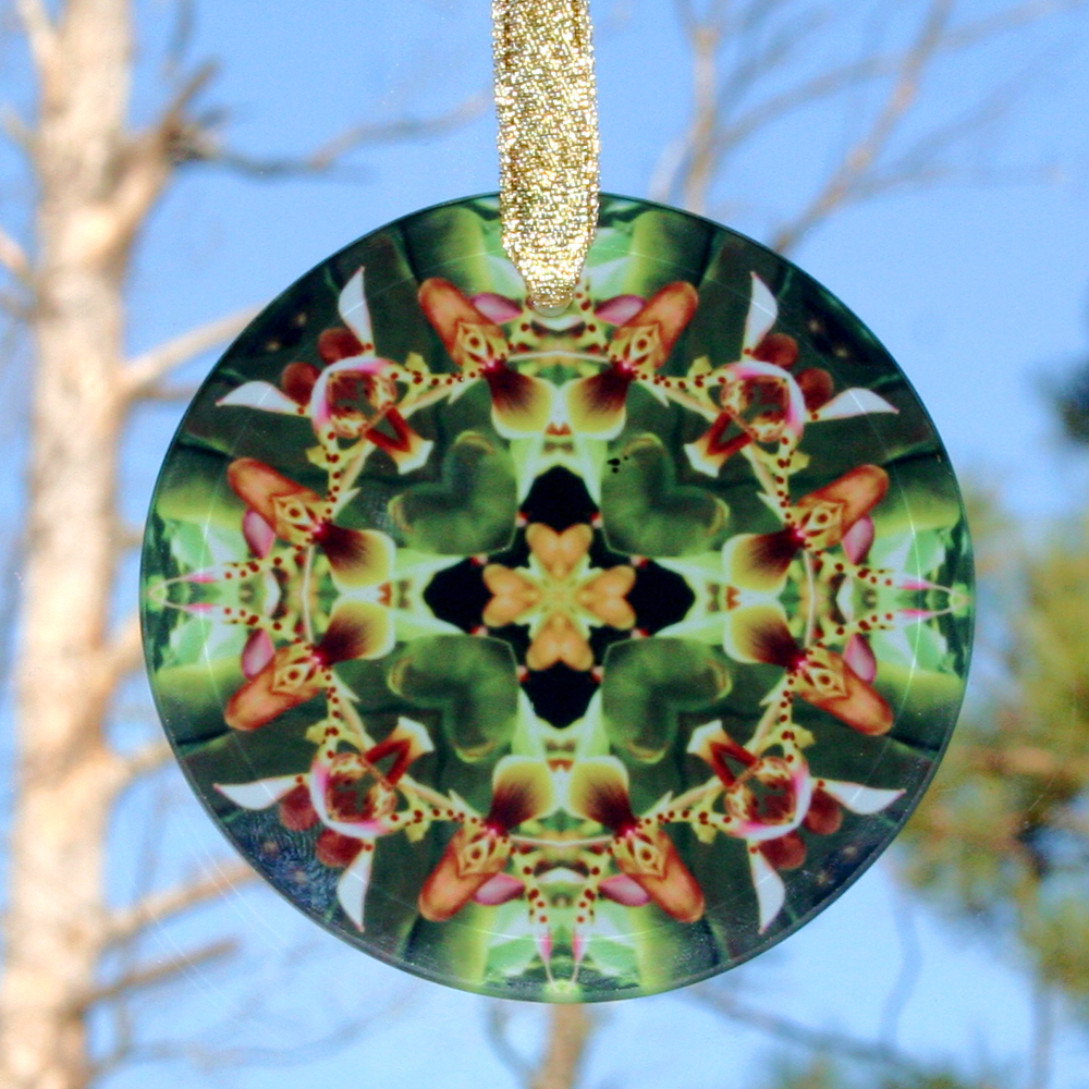 Orchid Glass Suncatcher Mandala Kaleidoscope Geometric My Heart's Desire