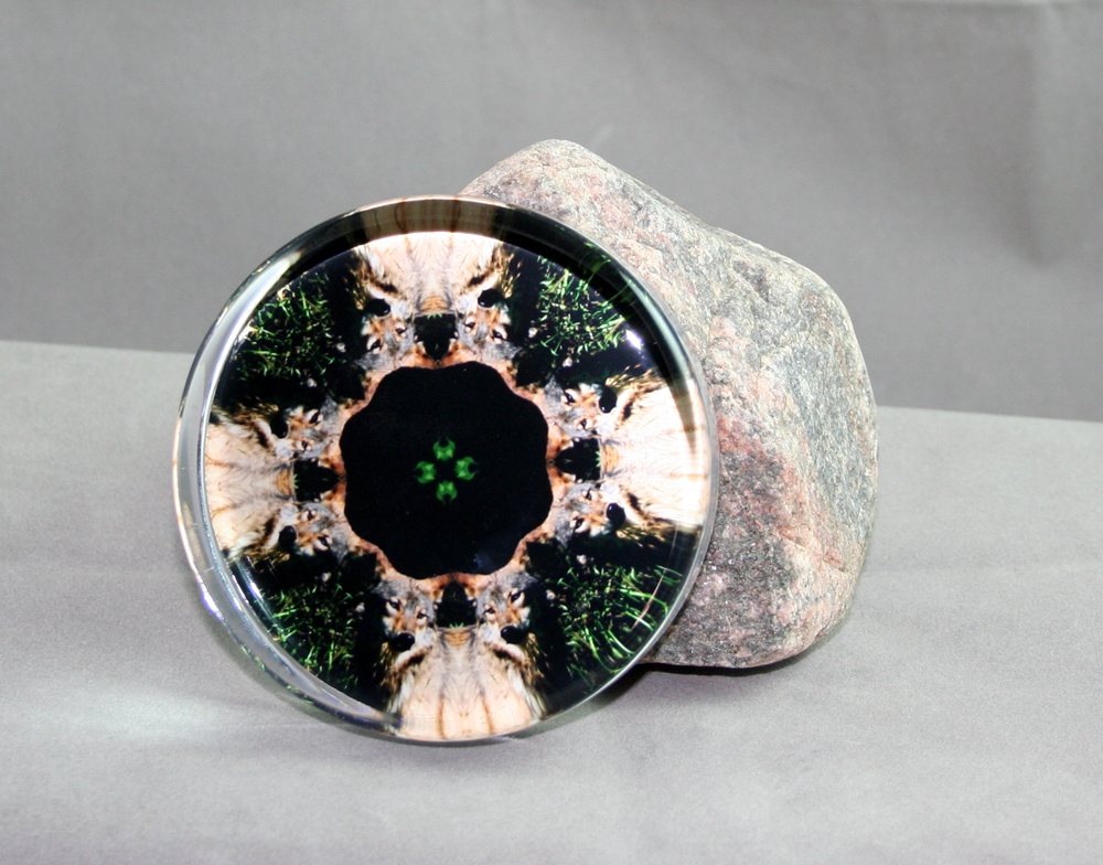 Wolf Glass Paperweight Masculine Kaleidoscope mandala Night Stalker