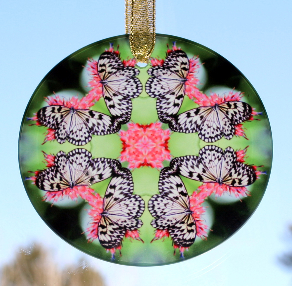 Butterfly Glass Suncatcher geometric mandala kaleidoscope Nymph Nirvana