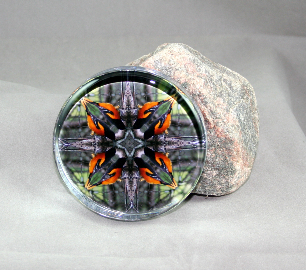 Oriole Glass Paperweight Sacred Geometry Mandala Kaleidoscope Ornament of Orange